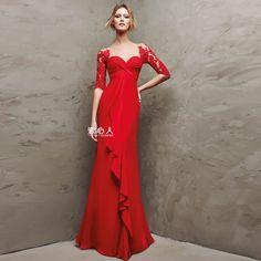 Taobao.nl - Xia Leisi 2015 nieuwe rode jurk toast kleding lange paragraaf het woord schouder trouwjurk diner kunt vissen voor zwangere vrouwen