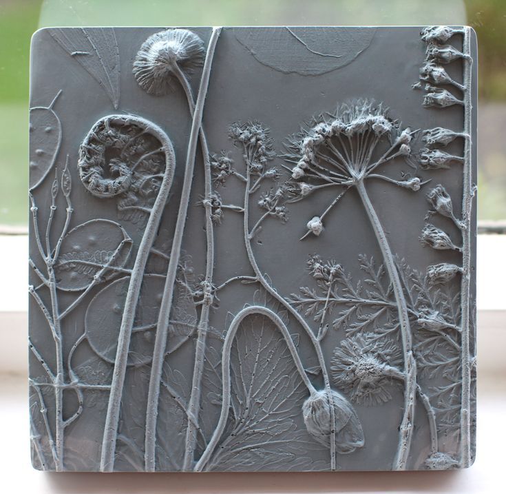 Plaster Cast Plant Tiles by Rachel Dein