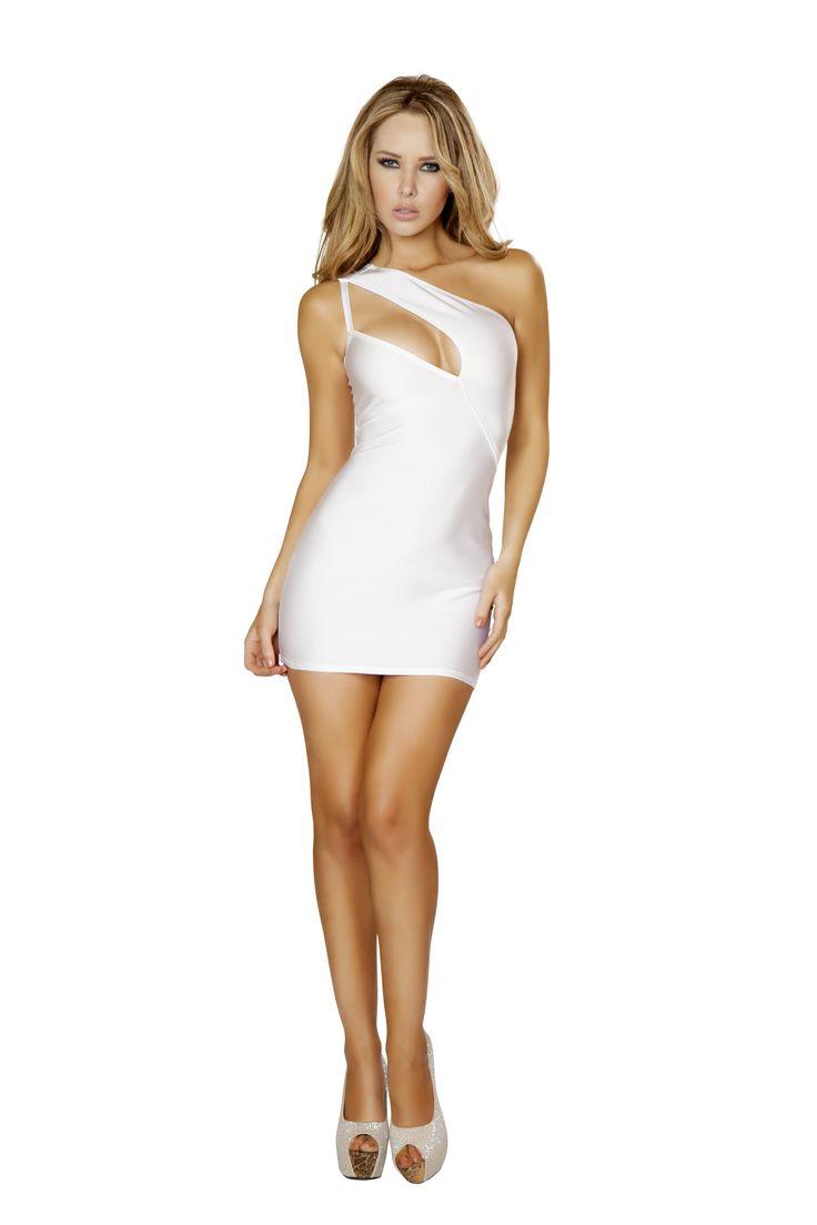 one shoulder cutout white mini dress rm 3132wht sexy party clubbing dresses pinterest. Black Bedroom Furniture Sets. Home Design Ideas