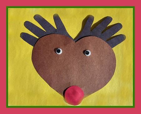 Handprint And Heart Rudolph The Red Nosed Reindeer Craft For Kids