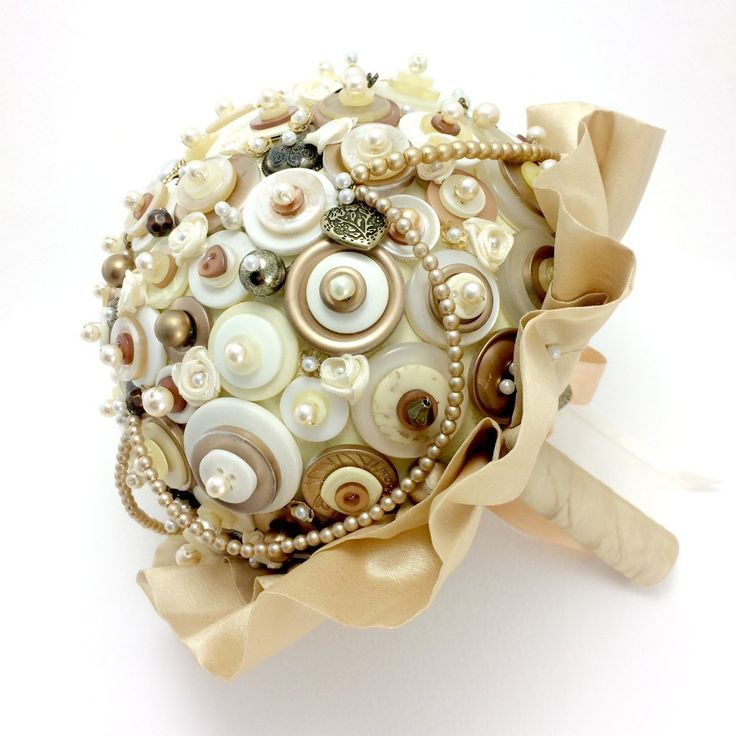 Vintage Pearl Ivory and Bronze Button Bouquet