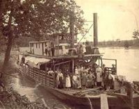 Early pioneers on a steamboat near Hermann, Missouri in the 1800s.