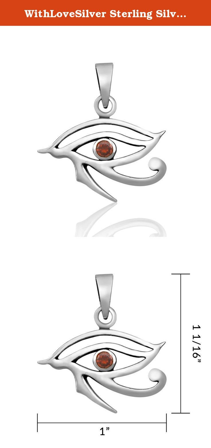 """WithLoveSilver Sterling Silver Eye of Horus Egypt Eye Protection with CZ Stone Pendant (Red). Eye of Horus : Protection, Healthy, Wealth, Omniscience. More Horus Jewelry available in our store. Please search Amazon for """"WithLoveSilver Horus"""". Marked .925 Sterling Silver. Packaging: Black Velvet Pouch. Weight : 4.2 grams."""