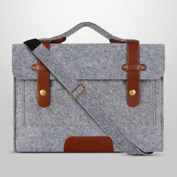 Mosiso MacBook Shoulder Bag Briefcase Felt Fabric Sleeve Handbag Carry Case Cover Only For New