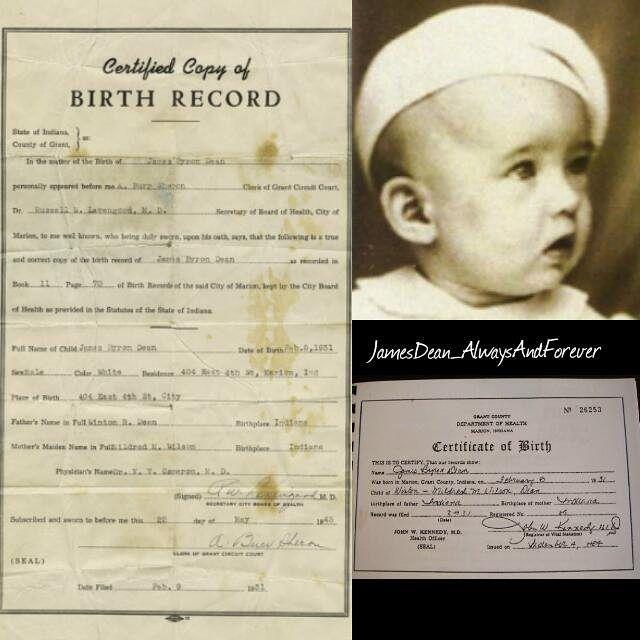James Dean - Certificate of Birth
