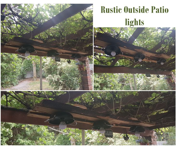 Rustic Patio Lights made from serving pans, old wood strips & 3W LED bulbs suspended from beams under grape vine on patio