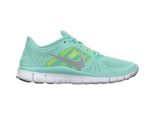 Nike Free Run+ 3 in a cool mint color; also Nike+ iPod sensor ready