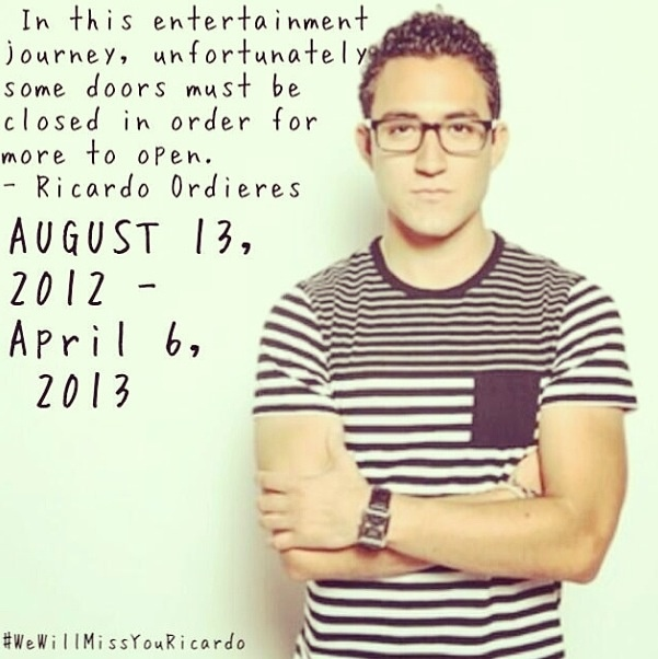 """As of today, Ricardo will be leaving O2L. We all knew this would happen one day but we all didn't think it would be so soon. Ricardo has changed so many of our lives and he means the world to all of us. O2L won't be the same without him, but he will ALWAYS be our Saturday and he will ALWAYS be apart of O2L. There not going to be any of this """"6 members"""". It will always be 7 no matter what. We respect his decision and support him with whatever he does. We hope to see him back soon❤ we love you!!"""