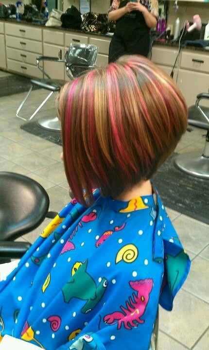Pink Highlights And Inverted Bob On Little Grace