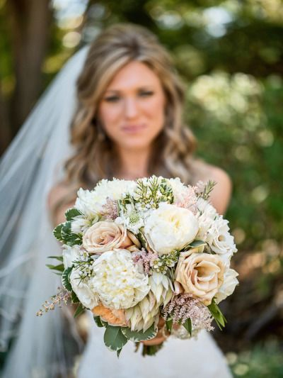 Pretty and traditional bouquet: http://www.stylemepretty.com/california-weddings/agoura-hills/2015/02/27/rustic-meets-romantic-vineyard-wedding/ | Photography: William Innes - http://innesphotography.com/