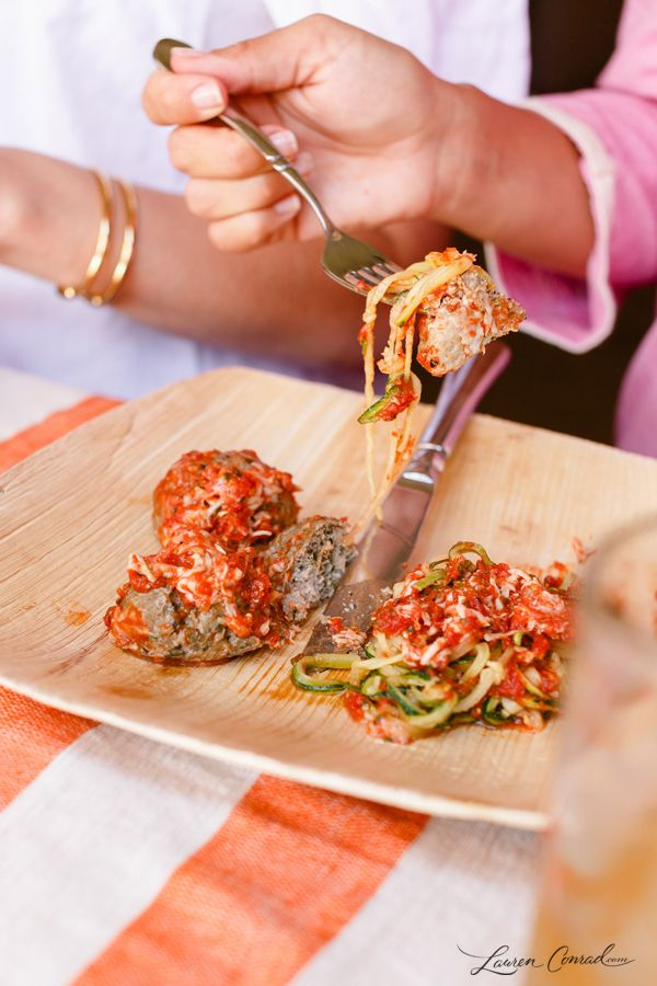 Zucchini noodles with turkey meatballs.