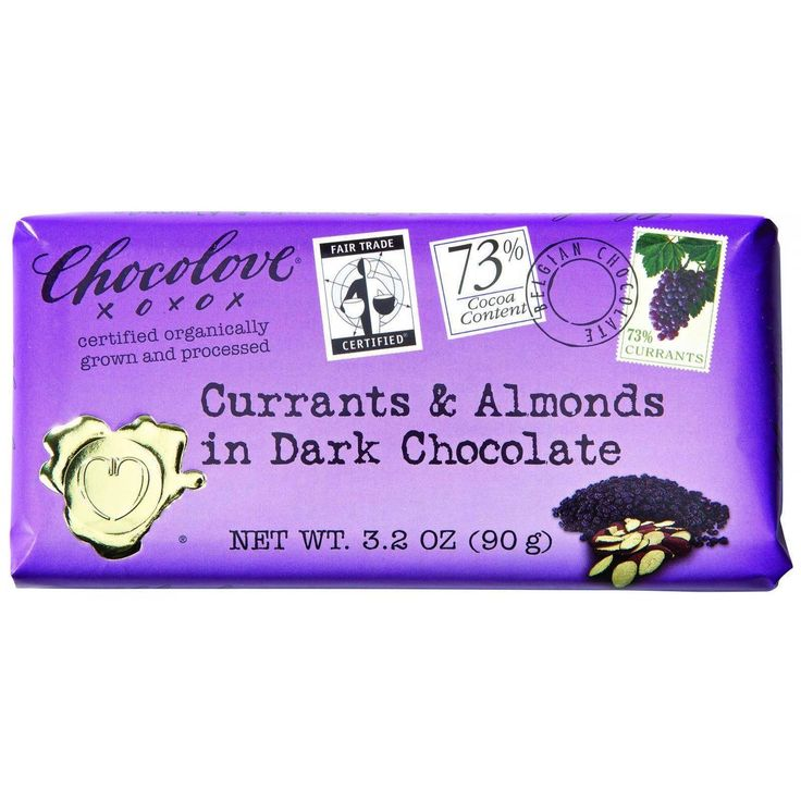 Chocolove Xoxox Premium Chocolate Bar - Organic Dark Chocolate - Fair Trade Currants And Almonds - 3.2 Oz Bars - Case Of 12