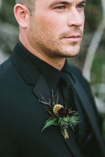 Spellbound Halloween Wedding Groom is Wearing a Michael Kors Black Tuxedo with…