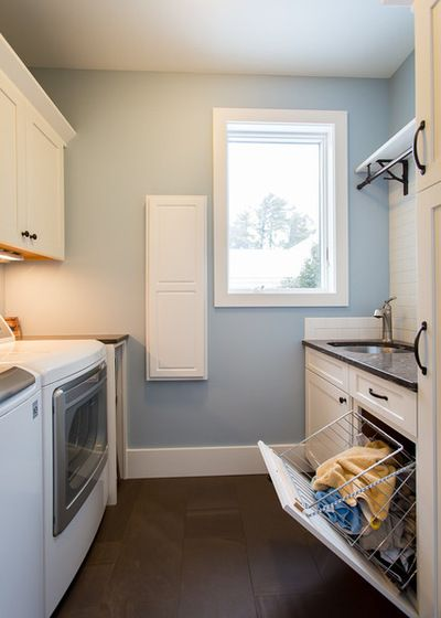 Hardworking Laundry: Make Room for Hampers and Baskets Beach Style Laundry Room by Marty Rhein, CKD, CBD - BAC Design Group