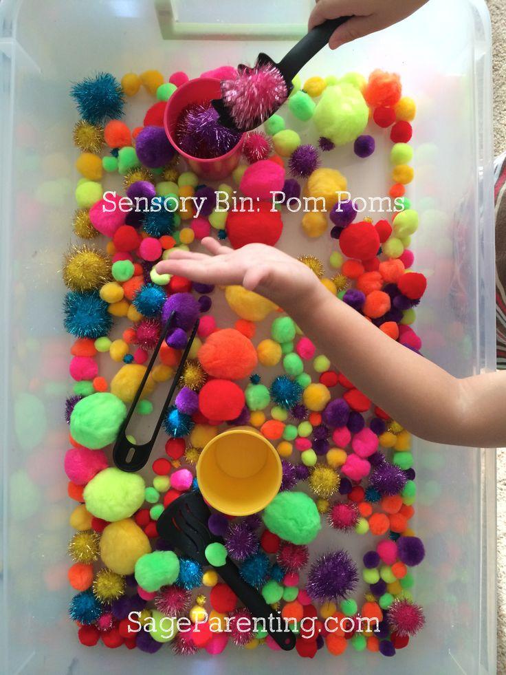 #SensoryBin : Pom Poms #Homeschool