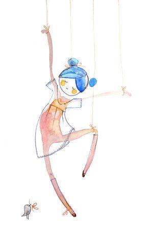 Puppet dancer © Cécile Hudrisier #whimsical #illustration