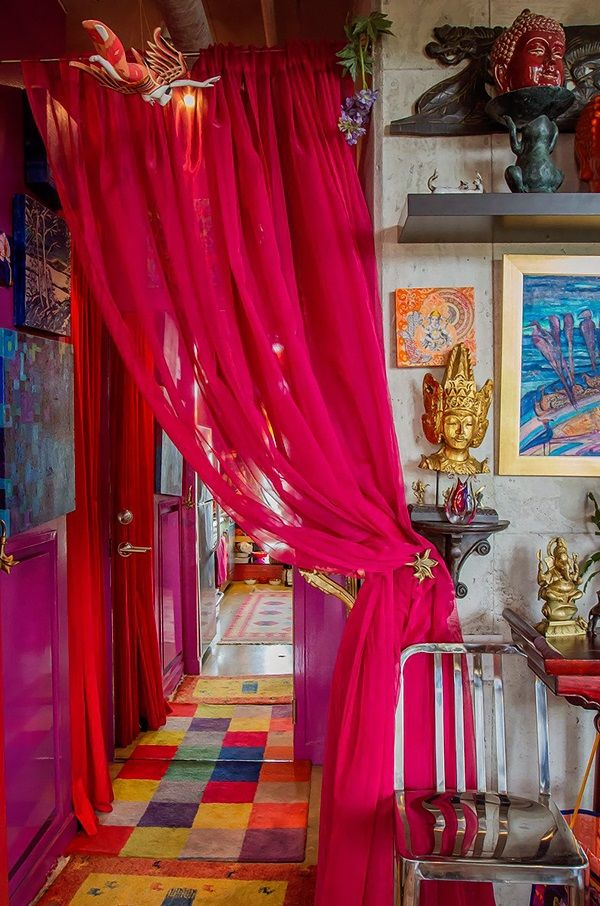 Apartment Therapy - home of French actor/artist Karen Racicot--Violet paint and fuschia curtains.