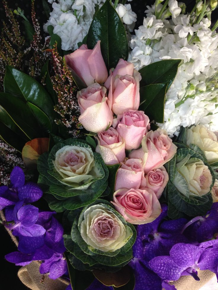 Flower Bouquet Heshian Wrapped Seasonal Flower Bouquet