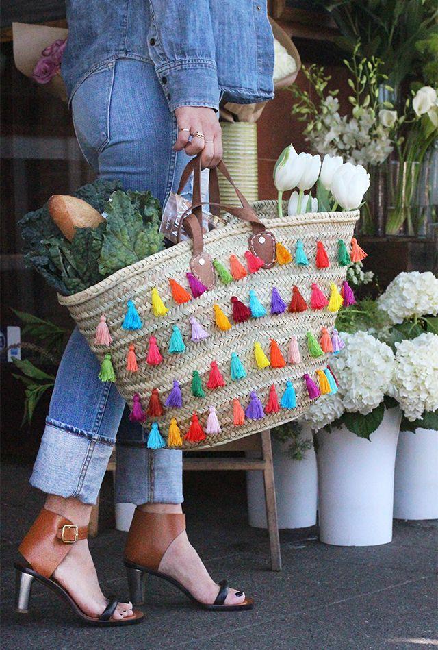 DIY Colorful Tassel-Embellished Straw Tote