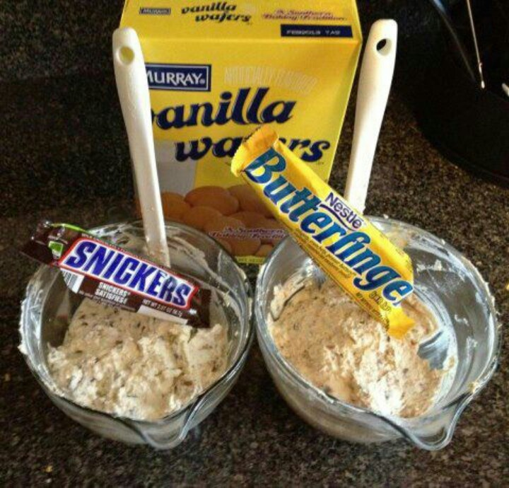 Snickers & Butterfinger Dips  (2) 8oz cream cheese, 8ounce cool whip, 1/4cup brown sugar, 6 small snickers or butterfingers chopped...Serve with graham crackers, fruit or pretzels