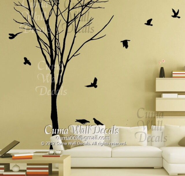 Tree Wall Decal Winter Wall Decals Birds Wall Decals By Cuma, Part 26