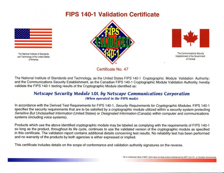 Netscape FIPS 140-1 Validation -- back in 1996 - 2000 - of Netscape Security Services (NSS), which included PKCS#11, SSL 3.0, and S/MIME, and PKCS#12.
