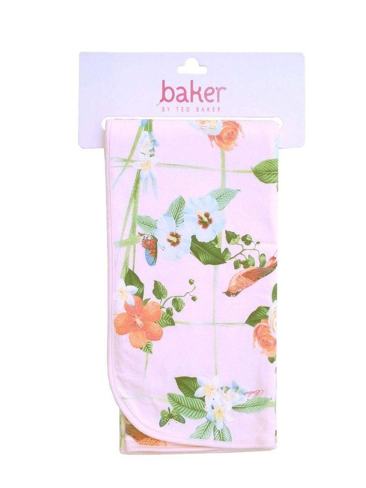 Ted Baker Baby Girls Blanket Pink Floral Birds Designer Pram Newborn Gift