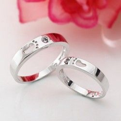 Lovely Footprint 925 Sterling Silver Plated 18K White Gold Cubic Zirconia Lover's Rings