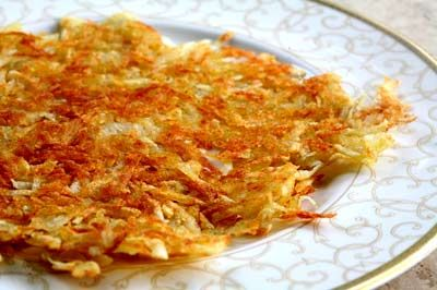 Crispy Hash browns - These are so good!  I don't ahve a potato ricer.  I use a thick towel and squeeze out all I can.  They are crispy and delicious.  They key is to keep it a thin layer.  Use two pans if you have too many potatoes, don't make it thicker.