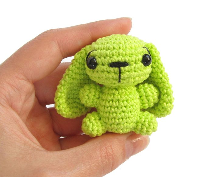 Tiny bunny rabbit - Crochet animal - Amigurumi miniature - Many color options - Lime green. €18.50, via Etsy.