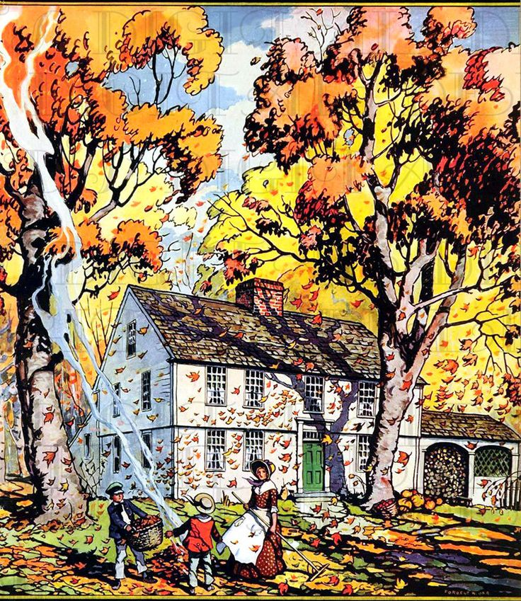 Beautiful Autumn Home. Falling Leaves. VINTAGE Thanksgiving Illustration. Digital THANKSGIVING Download. Perfect for Invites, Cards, Tags. by DandDDigitalDelights on Etsy https://www.etsy.com/listing/166150409/beautiful-autumn-home-falling-leaves
