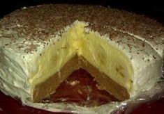 Famózní banánový nepečený dort | 600 g sušenky 250 ml Fanta Náplň: 2 bal.vanil pudink 2 PL kr. cukr 700 ml mléka 250 g máslo 200 g moučkový cukr 5 ksbanán Dále: 2 bal.smetana ke šlehání čokoláda na posypání Sušenky nadrtíme, polijeme fantou, promícháme a do formy, vyložené papírem, do lednice a připravíme krém z mléka, cukru, vanil pudinku, vychladnout, Máslo s mouč cukrem vymícháme, přidáme pudink. Trocha nádivky, banány, nádivka. Smetanu vyšleháme a navrstvíme. Vrch čokoláda