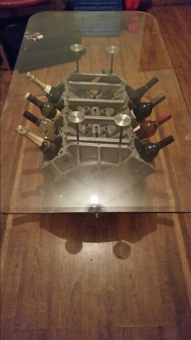 Elegant Engine Block Coffee Table, Made From The Engine Of A Corvette Dragster Car  That Was The First Car In Europe To Do Quarter Mile In Under 6 Secs.