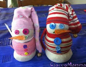 CioccoMamma: Lavoretti di Natale pupazzo di neve con calzini