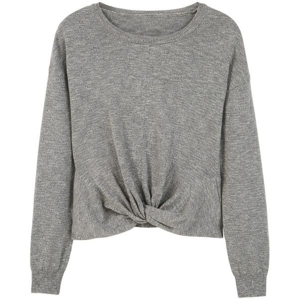 MANGO Flecked Cotton-Blend Sweater found on Polyvore featuring tops, sweaters, shirts, jumpers, embellished sweaters, embellished shirt, long sleeve shirts, knot top and mango tops