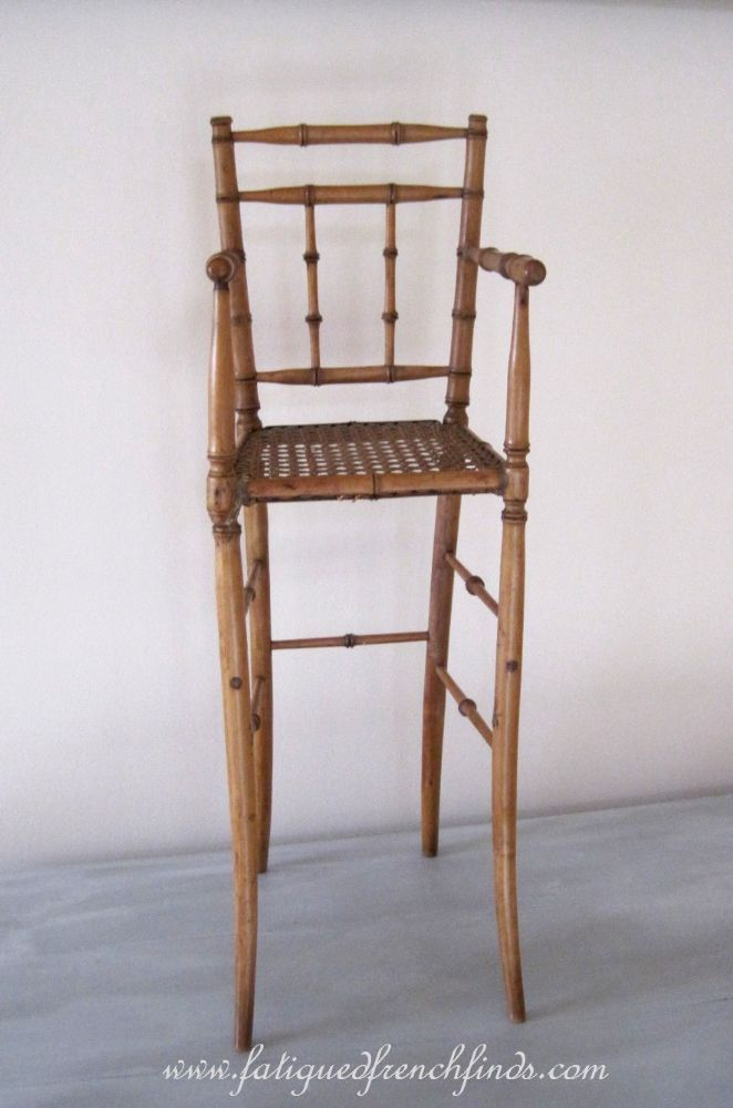 Antique French Doll's Faux Bamboo & Hand Caned Chair 62cms Tall www.fatiguedfrenchfinds.com