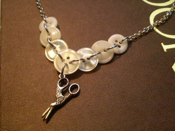 Vintage Ivory Button Necklace with Crane by etceterahandcrafted $18