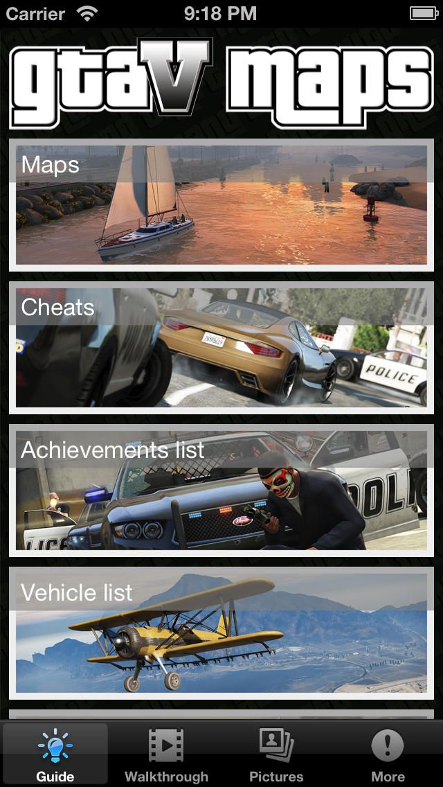 Ultimate Guide and Maps for GTA 5: You can download here: https://itunes.apple.com/hu/app/id707436030?mt=8&affId=1860684 The best guide app for Grand Theft Auto 5.