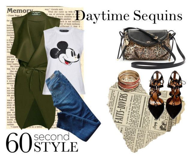 """""""Daytime Sequins"""" by culimanna on Polyvore featuring moda, Juicy Couture, Aquazzura, Markus Lupfer, Sonoma life + style, Levi's, daywear, Sequins e falltrend"""