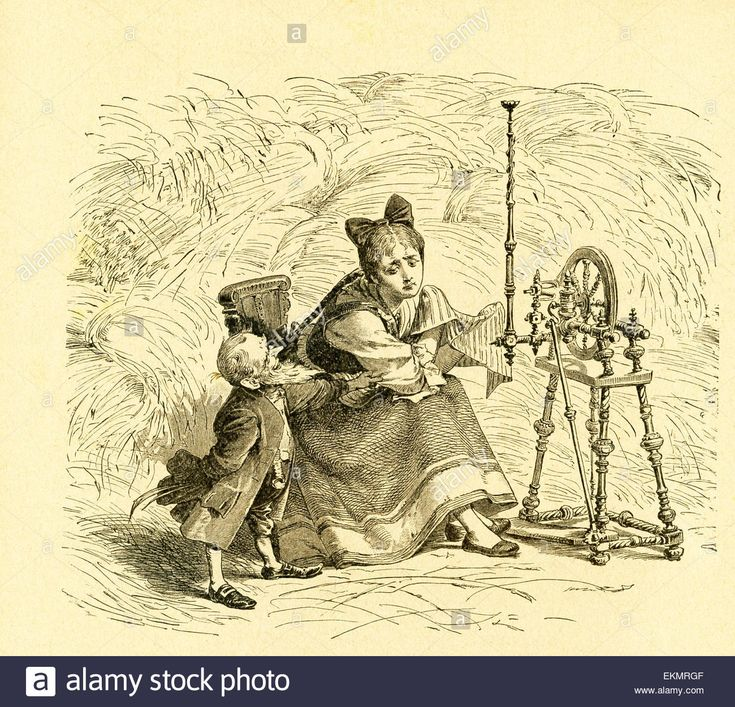 "In 1812, the Grimm brothers, Jacob and Wilhelm, published Children and Household Tales, a collection German fairy tales. This illustration accompanied the tale ""The Elves and the Shoemaker"" and shows one of the little elves with the shoemaker's wife who had fashioned clothes for the elves. This image is from Grimms Eventyr (Grimm's Fairy Tales) by Carl Ewald, published in 1922. The frontispiece has the illustrations by Philip Grot Johann and R. Leinweber. Stock Photo"