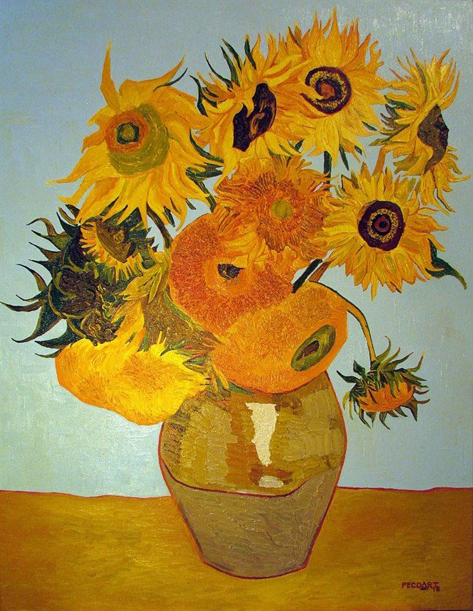 Sunflowers (Vincent van Gogh) #2 by Peco Art ... Oil on canvas, 70x90cm ...