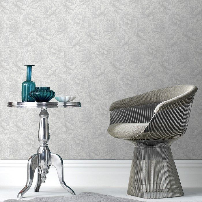 Flourish Gray Floral Wallpaper - Gray Flower Wall Coverings by Graham & Brown | Graham & Brown