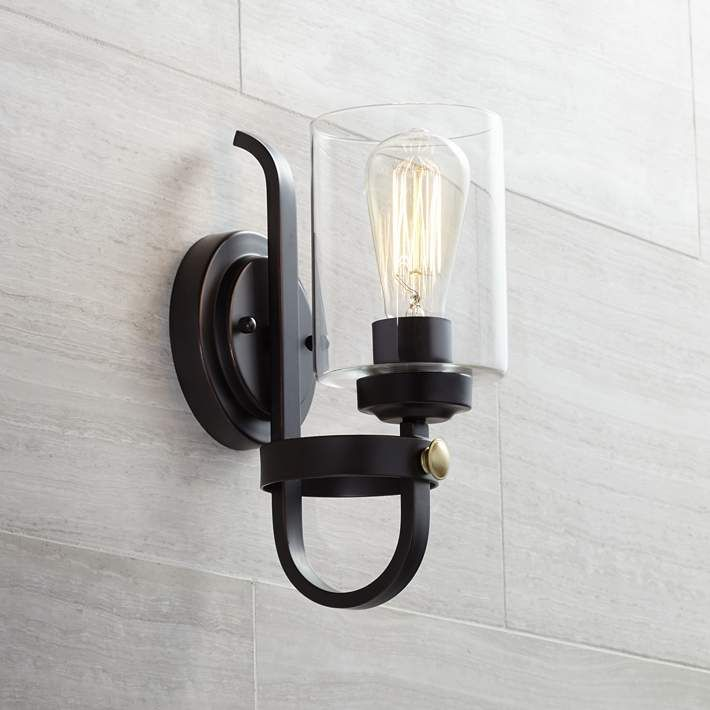 Eagleton 12 High Oil Rubbed Bronze Led Wall Sconce 35f50 Lamps Plus In 2020 Farmhouse Wall Lighting Bronze Wall Sconce Bathroom Sconce Lighting
