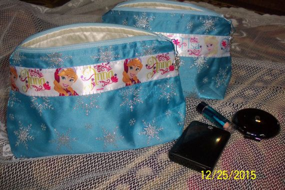 Frozen Anna and Elsa bag. Make up Cosmetic by CindysBagsAndThings