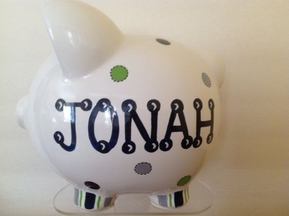Personalized Large  Piggy Bank Navy/ green/ by KUTEKUSTOMKREATIONS