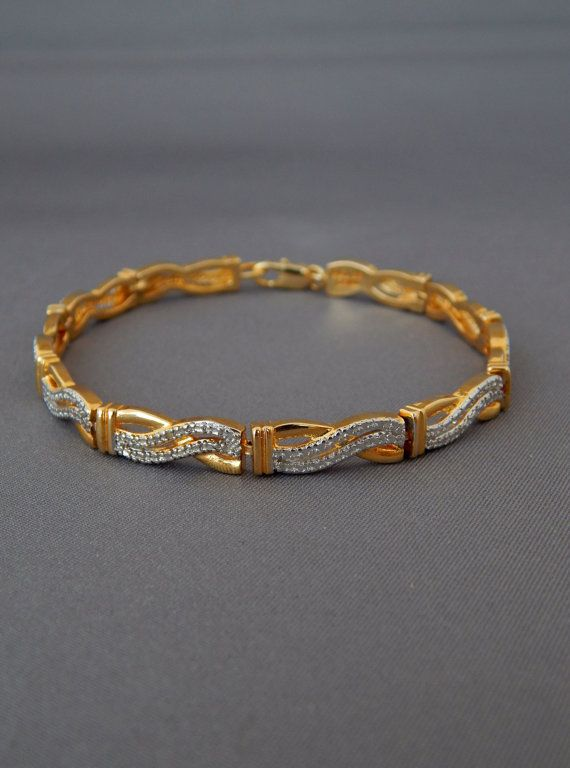 Vintage Gold Plated Tennis Bracelet Paj Bb China Gold Plate Etsy Bangles Jewelry Designs Gold Bangles Design Gold Jewelry Simple Necklace