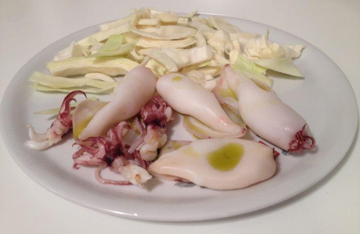 Calamari e cavolo al vapore, #olio di oliva crudo  Cena post #allenamento per il #recupero muscolare - #PersonalTrainer #Bologna #salute #benessere