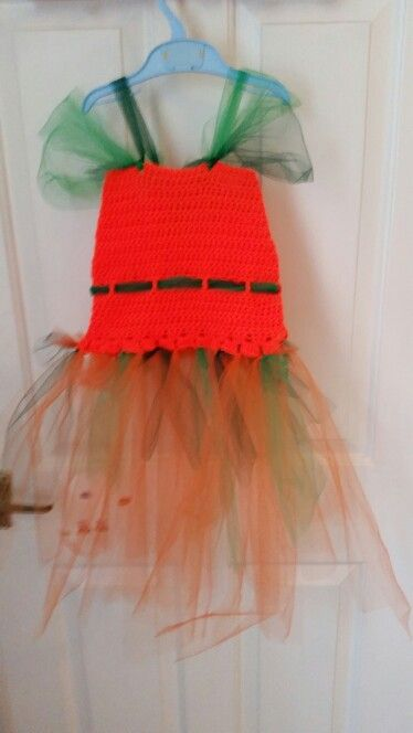 Mimi's Halloween Pumpkin dress ... no pattern. Looks awful on the hanger but looks amazing when it's on! :)