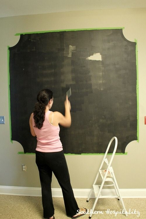 Making a Chalk Board Wall with Frogtape from SouthernHospitality.com