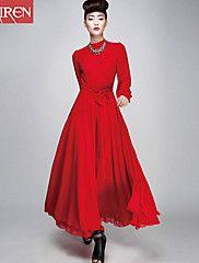 Muairen®Women'S Upscale Vintage Dress Slim Chif... – USD $ 40.78